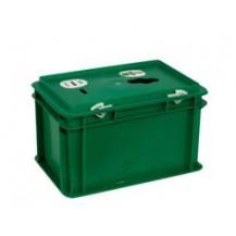 Caja de plástico recogida selectiva de pilas PI-3217 VERDE